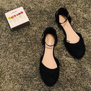 Nicole Open Side Black Flats